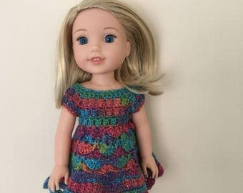 "Doll dress for 14.5"" doll such as American Girl Wellie Wishers. Handmade, crocheted. Lovey sparkly yarn!"