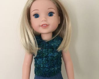 "14.5"" doll sweater. For dolls such as American Girl Wellie Wishers. Dolls clothes. Doll top. Handmade, crocheted"
