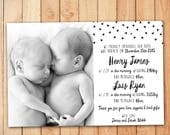 Monochrome Twins Birth Announcement - Baby Thank You Card