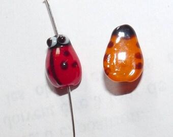 2 beads Ladybug charm pendant, orange red blown glass Charms