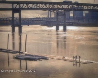 Swim Dock looking South toward Marquam Bridge and Tilikum Crossing in Portland Oregon