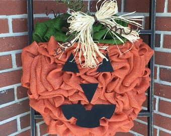 Pumpkin Wreath, Jack O' Lantern, Burlap Wreath, Fall Wreath, Front Door Wreath, Handmade Wreath, Halloween Wreath, Burlap Decor
