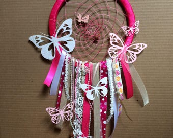 Dream catcher. Bright pink butterfly dreamcatcher. Little girls room. Christmas gift