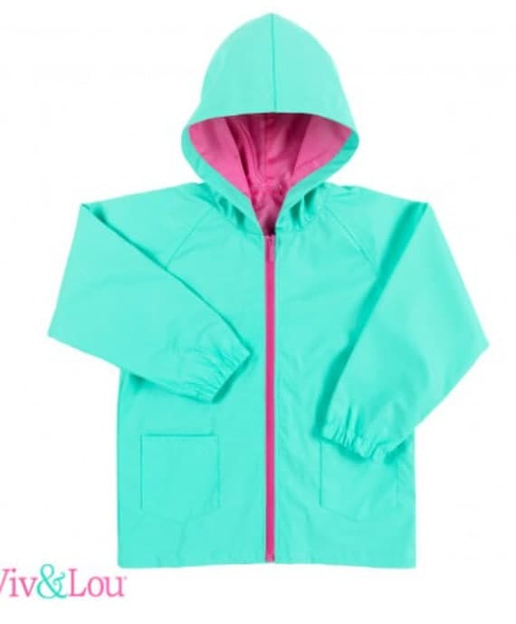 girls raincoat personalized rain coat back to school rain jacket monogram rain jacket hot pink mint navy