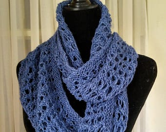 Hand-knit lacy blue loop scarf   light-weight loop scarf   knit double loop infinity scarf   light knit loop scarf   knit lacy loop cowl