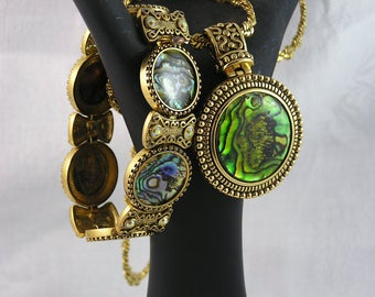 Fabulous Vintage Butler Abalone Pendant Necklace and Bracelet Set