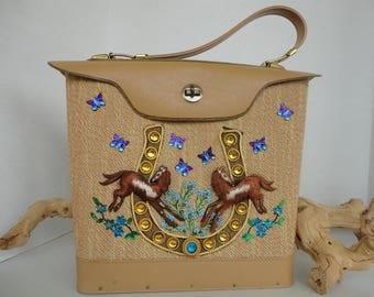 Jeweled Purse With Horseshoe  and Horses
