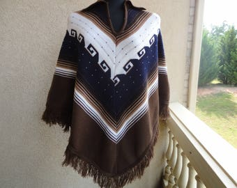 Hand Knitted Pullover Poncho