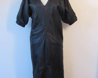 Wonderful 70's / 80's leather dress , real leather dress , batwing sleeves , 80's at its best