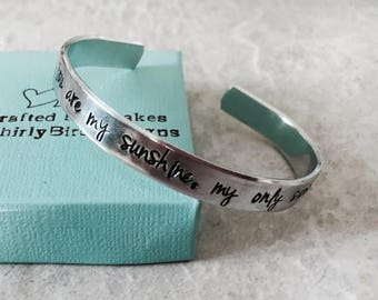 Sale You are my sunshine my only sunshine cuff bracelet personalized bracelet sister mother daughter best friend monogrammed bridesmaid gift