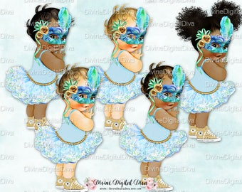Masquerade Tutu Vintage Baby Girl Sneakers Mask Feathers Blue Green Gold | 3 Skin Tones | Clipart Instant Download