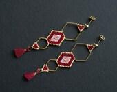 Red Gold Ethnic Earrings, Boho Chic Earrings, Boho Tassel Earrings, Himmeli Inspired Earrings, Geometric Earrings, Golden Earrings