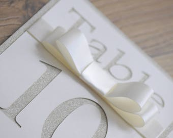 Ivory Glitter Cut Out Table Number