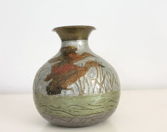 Vintage Hand Painted Metal Vase German
