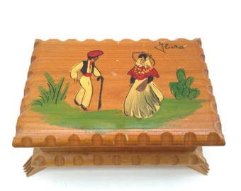Vintage Souvenir Jewellery Box, Hand Painted, from Ibiza Spain