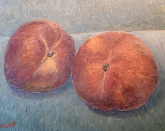 Two peaches Still Life original oil painting