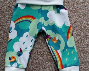 Rainbow birds fold over pants, 3-6m