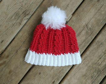 Red and White Christmas Cable Hat