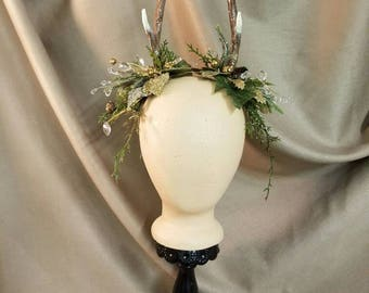 Antler Headpiece with Holiday Greenery