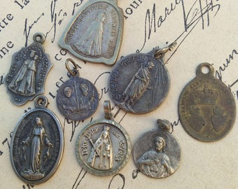 Rare lot 8pcs French antique  Bronze religious medals crucifix cross pendant reliquary filigree gothic lys flower star