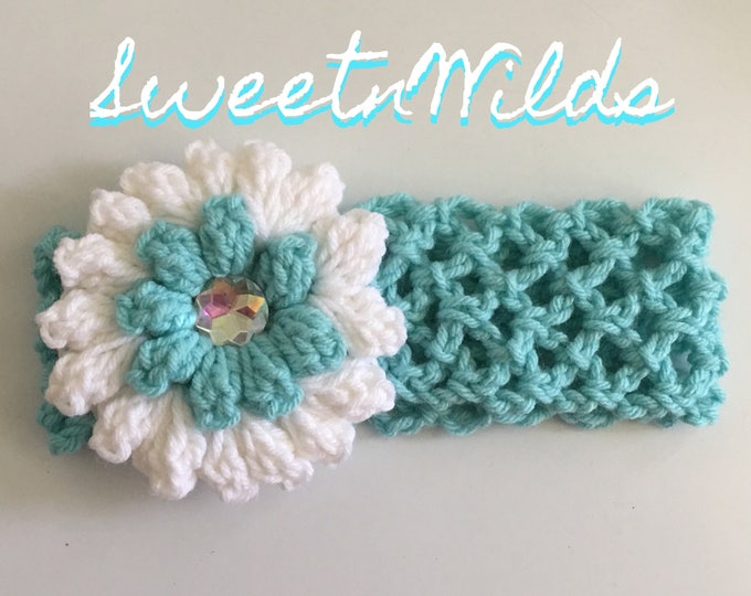 Crocheted Stretchy Headband - Flower Hairband-Baby Hairband-Flower Girls-Baby Shower
