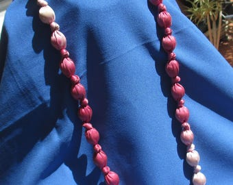 Retro Ombre Pink Colored Fabric Beaded Long Necklace TLC