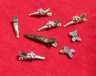 Lot Of Retro Assorted Rhinestone Flower & Broken Butterfly Hair Clips TLC
