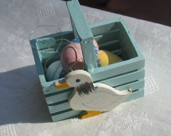 Retro Miniature Blue Duck Wooden Easter Basket With Wooden Eggs