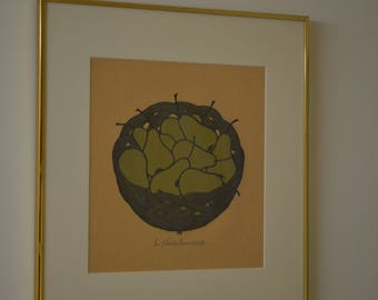 """Original """"Pears"""" Signed and Framed Woodblock Print"""