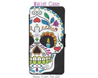 iPhone 6S Plus Case - iPhone 6S Plus Wallet Case - iphone 6S Plus - iPhone 6S Plus Wallet - Sugarskull