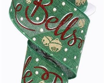 "Christmas Ribbon, JINGLE BELLS, 2.5"" x 10Yds, Wired, Holiday Ribbon, Wreath Supply, Wreath, Green & Red Ribbon, 7406, R11"
