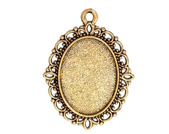 20 Gold Tone Blanks - Oval Cabochon Settings - Antique Gold Color Bezels - Fits 18 X 13MM