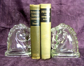 Horse Head Bookends Federal Glass Company Vintage Midcentury 1950s Library Office Decor Collectible  Equestrian Glass Horses Library Decor