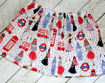 girls England Big Ben skirt Underground British birthday clothing for toddler girl Fashion sunglasses Double Decker English bus skirt Red