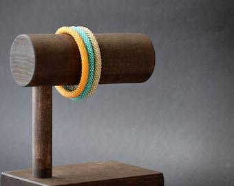 Trio of Bracelets, Set of Bead Crochet Bangles, Beaded Bangles Set, Colours of Summer Bangles
