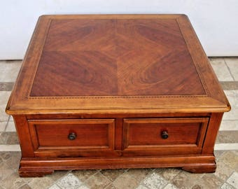 Vintage Large Square Coffee Cocktail Table with Double sided Storage by Hammary