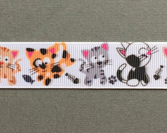 """Cutest Little Array of Happy Cats on 7/8"""" Grosgrain Craft Ribbon"""