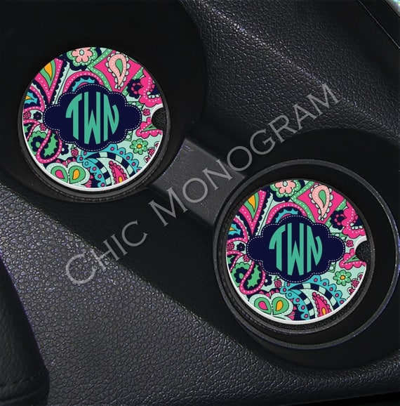 Monogram Car Coasters Cup Holder Coasters Design Your Own Personalized Sandstone Coasters Car Accessories For Women Lilly Inspired Jewels
