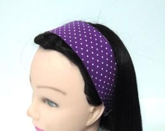 Bandeau fille à pois violet et blanc