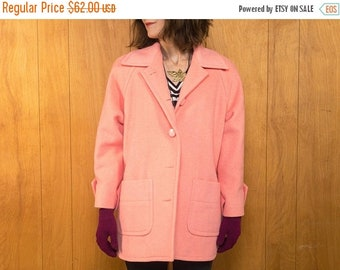 30% OFF // Vintage 80s Wool Coat Pink Jacket for Women ~ Small