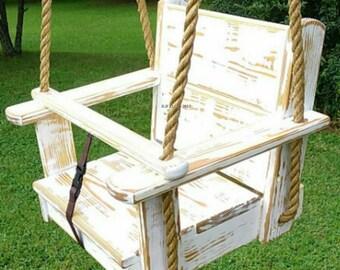 Wood Tree Swing-Kids Seat Swing (Distressed-White)