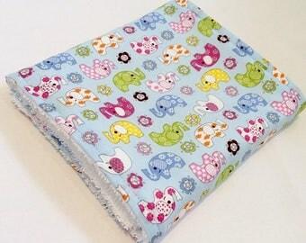 Burp cloth - Cotton towelling baby burp cloth - Elephants print on blue cotton fabric backed up with white cotton towelling, baby burp cloth