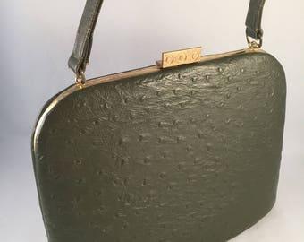 Vintage Leon of California Mad Men Style Classic Handbag, Green, 1960's Vintage, by Leon, Retro Leon Handgba