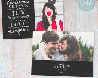 Holiday Christmas Card Template - Photoshop template - AC046 - INSTANT DOWNLOAD