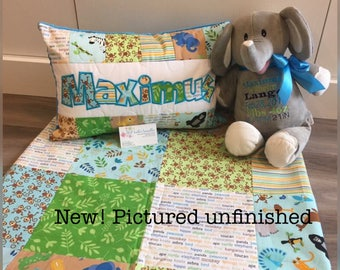 New! Zoofari Animal Baby Quilt and Pillow Set, personalized