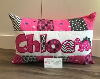 NEW! Girls dinosaur personalized pillow case, 12x18 inches