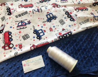 NEW! Fire truck/police cars baby blanket, minky fabric on both sides