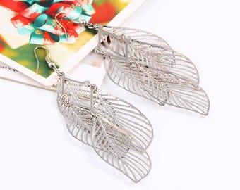 Leaf Earrings, Large Silver Earrings, Statement Earrings, Drop Earrings, Big Earrings, dainty silver leaf earrings, thin leaf earrings, UK