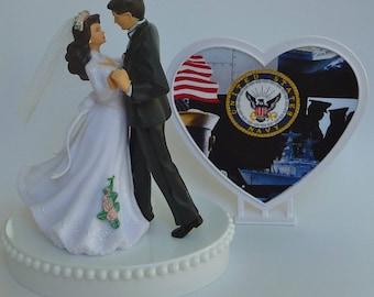 Wedding Cake Topper U.S. Navy Themed USN Military Enlisted Bride Groom Dancing Pretty Heart First Dance w/ Bridal Garter Reception Gift Idea