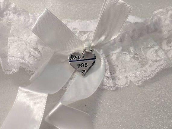 Police Wedding Garter - Thin Blue Line - Police Garter - Police Wife To Be - Officer Wedding Garter - Personalized - Badge Number Garter